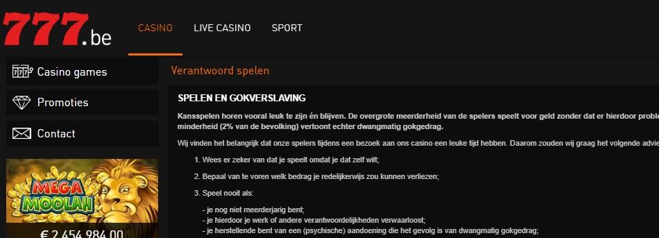 casino 777 verantwoordelijk spelen