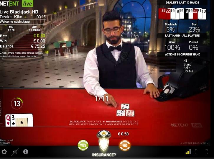 verzekeren bij blackjack verstandig