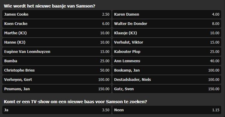 Wie wordt het nieuwe baasje van Samson